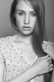 Sensual model close up portrait. Sensual model is posing. Studio shot Stock Photo