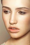 Sensual model close up portrait. Sensual model is posing. Studio shot Stock Photography