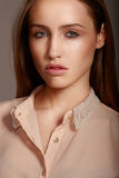 Sensual model close up portrait. Sensual model is posing. Studio shot Stock Images