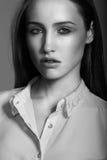 Sensual model close up portrait. Sensual model is posing. Studio shot. Black and white Stock Photography