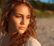 Sensual model is posing. Sunset, outdoor shoot Stock Images