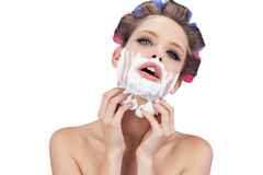 Sensual model with shaving foam looking at camera Stock Image