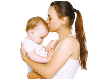 Sensual mom kiss baby Stock Images