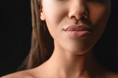 Sensual mouth of beautiful african woman royalty free stock images