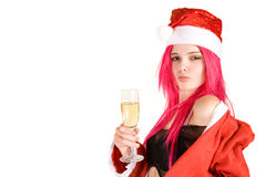 Sensual mrs. Santa with champagne glass Stock Photos