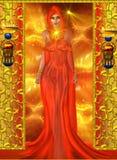 Sensual, mujer del alcohol en rojo ilustración del vector