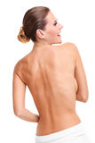Sensual naked woman with towel Royalty Free Stock Images