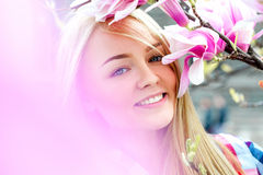 Sensual nice young blonde enjoing and smiling. Outdoors at spring Royalty Free Stock Photos