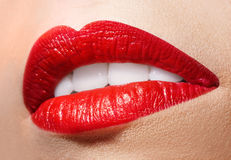 Sensual open mouth  with red lipstick. Stock Photos