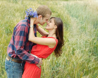 Sensual outdoor portrait of young smiling attractive couple in l Stock Photos