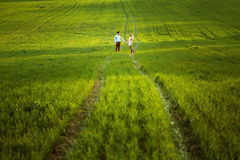 Sensual outdoor portrait of young stylish couple posing in field Royalty Free Stock Photo
