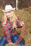 Sensual Passionate Caucasian Cowgirl With Lasso Rope in Farm Royalty Free Stock Photography