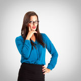 Sensual pensive teacher portrait over vignette background Royalty Free Stock Photography