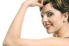 Sensual portrait. Sensual tattooed punk woman  sensually poses on a white background Stock Image