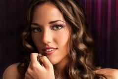 Sensual portrait of beautiful brunette. royalty free stock image