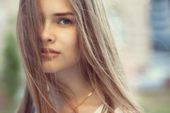 Sensual portrait of beautiful girl outdoors. Closeup sensual portrait of beautiful girl outdoors Royalty Free Stock Photos