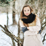 Sensual portrait of a beautiful girl in winter - outdoor Royalty Free Stock Image