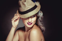 Sensual portrait of cutie adult woman with greay hair color and Stock Photography