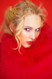 Sensual portrait in red textile Stock Photo