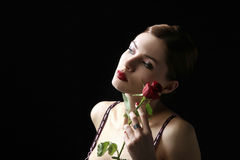 Sensual portrait with rose Royalty Free Stock Photo