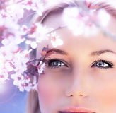 Sensual portrait of a spring woman. Beautiful face, close up on blue eyes, female enjoying cherry blossom, dreamy girl with pink fresh flowers outdoor Royalty Free Stock Photos