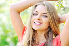 Sensual portrait of a spring woman. Beautiful face female enjoying looking at you royalty free stock photo