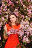 Sensual portrait of a spring woman, beautiful face Stock Photo