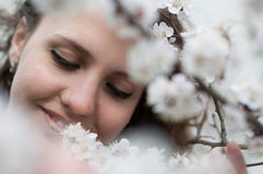 Sensual portrait of a spring woman, beautiful face Stock Photography
