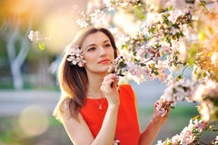 Sensual portrait of a spring woman Royalty Free Stock Images