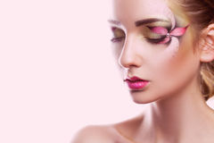 Sensual portrait of young woman with creative make up Royalty Free Stock Image