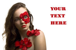 Sensual portrait of young woman in rose petals Stock Photos