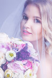 Sensual portrat of young beautiful bride holding flower bouquet. Under veil Royalty Free Stock Photography