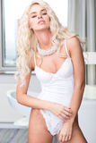 Sensual Pretty Blond Model in White Underwear Stock Photo