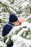 Sensual pretty couple in winter forest among fir trees Royalty Free Stock Photo