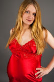 Sensual pretty pregnant blonde. Standing in red isolated over gray background royalty free stock photos