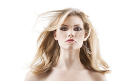 Sensual Pretty Woman With Flying Hair Stock Image