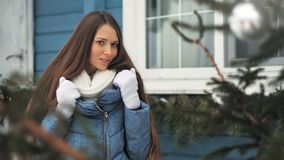 Sensual pretty young woman posing outdoor in winter.  stock video footage