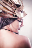 Sensual Queen, young with golden mask, ancient goddess Royalty Free Stock Images