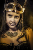 Sensual Queen, young with golden mask, ancient goddess Stock Photography