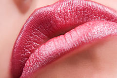 Sensual red lips. Closeup of sensual red lips Stock Photos