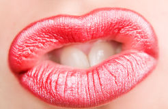Sensual red lips Stock Image