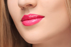 The sensual red lips close up Royalty Free Stock Photo