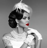 Sensual red lips. Elegant retro woman portrait with fashion jewe. Lry set. Black and white vintage photo Stock Images