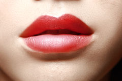Sensual red lips. Macro shot of woman's lips with red lipstick Royalty Free Stock Image