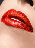 Sensual red Lips make up closeup Royalty Free Stock Image