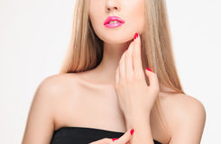 The sensual red lips, mouth open, white teeth. Royalty Free Stock Photography