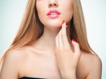 The sensual red lips, mouth open, white teeth. Royalty Free Stock Image
