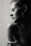 Sensual redhead girl. Sensual portrait of young attractive  woman. Black and white Stock Photography