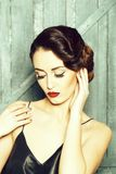 Sensual retro young woman stock photos