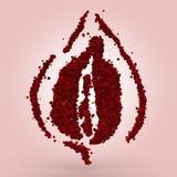 Sensual Rose Illustration. Sensual representation made of red roses on pink background stock illustration